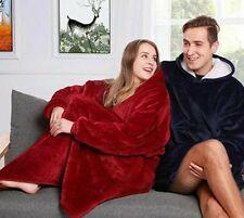 Coperta in pile con maniche tasca cappuccio morbida plaid casa pullover divano