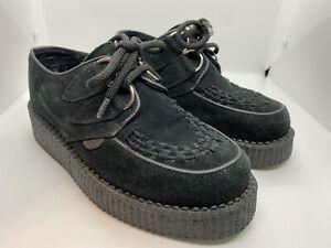 Underground Originals black suede creeper platform shoes velvet size 3 EU 36