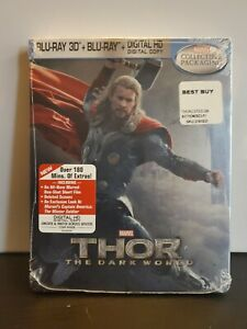 Thor: The Dark World 3D (Blu-ray 2014, 2 Disc, Best Buy Exclusive Steelbook) New
