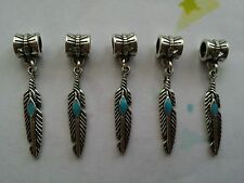 5 Tibetan Silver Feather Charms With Bail Beads