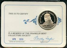 FRANKLIN MINT 1979 COLLECTOR SOCIETY MEMBERSHIP STERLING SILVER MEDAL CARD