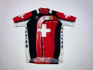 Castelli 1/4 Zip Jersey Shirt Size 2XL Black Red White Suisse Italy Cycling #565