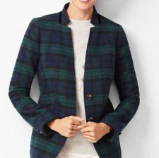 TalbotsWomen's Jacket Blazer Wool Blend Black Watch Plaid Size 12 NWOT