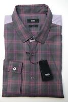 Hugo Boss $145 Men's Nemos Slim Fit Charcoal Plaids Casual Cotton Shirt New XL
