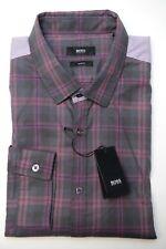 1006ac796 Hugo Boss Men's Ero3 Slim Fit Dark Blue/med Red Casual Cotton Shirt L