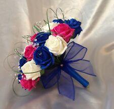 WEDDING FLOWERS ARTIFICIAL IVORY HOT PINK ROYAL BLUE ROSE BRIDE WEDDING BOUQUET