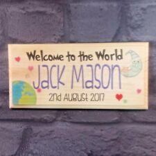 Personalised Welcome To The World Plaque / Sign / Gift - Baby Birth Bedroom Home