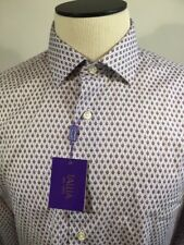 Tallia Men's Shirt 100% Cotton Purple/White Geometric Design Size L (16 1/2)