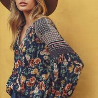 L New Bohemian Floral Long Sleeve Peasant Navy Blouse Tunic Top Womens LARGE