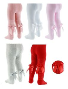 Girls Spanish Style Tights Diamond Bow Age 0 1 2 3 4 5 Years White Pink Red Grey