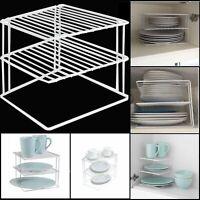 2 Tier Metal Corner Shelf Kitchen Cabinet Plates Organizer Storage Rack White