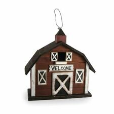 """New Wooden Adorable Red Barn Birdhouse  10.5 X 10.5 """""""