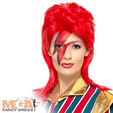 Vestido de lujo Peluca De Adulto de espacio Superstar 80s Pop Icon Accesorio Disfraz de David Bowie