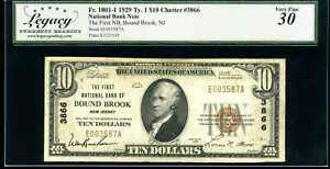 1929 $10 1st Natl Bank of Bound Brook, NJ Fr.1801-1 Ty.1 Ch#3866 VF30 E003587A