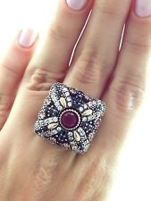 925 STERLING SILVER SIZE 7 RUBY RING TURKISH HANDMADE VINTAGE JEWELRY R2213