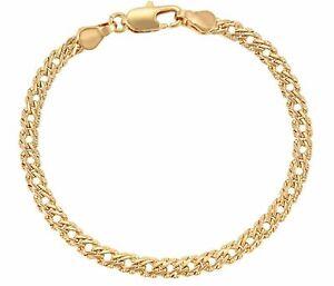 """9ct9k Yellow """"Gold Filled"""" Bismark Patterned Link Bracelet 8.5"""", Width 6.5mm"""