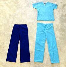 Rn Nurse Doctor Medical Ma Size Xs 0 2 Blue Scrub Top Bottom Pants Set Lot Women