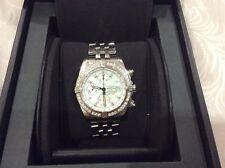Breitling Chronomat Evolution White MOP Chronograph 44mm Diamond A13356 Watch