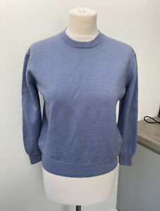 Cos Lilac Blue Boxy Jumper 100% Wool Size Small