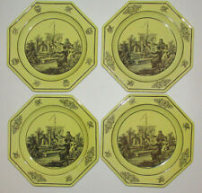 Vintage Mottahedeh Italian Yellow and Black Toile Creil Ware Four Octagon Plates