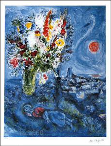 Marc CHAGALL La Dormeuse Aux Fleurs Facsimile Signed Art Print