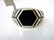 David Yurman Mens Modern Chevron Hex Signet RIng Black Onyx Silver Size 12 NWT