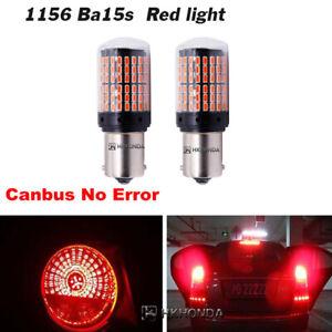 2pc Red 144  BA15S Car Light Bulbs 12V-24V 7440 LED Lamp Turn Signal 144SMD