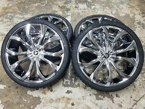 "4-26"" 26x10 Lexani Lust Chrome Wheels 5x115 5x120 5x150 Charger Tundra Chevy BMW"