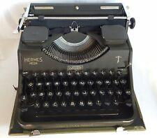 Hermes Media Military Green Portable Typewriter w/ Case Vintage