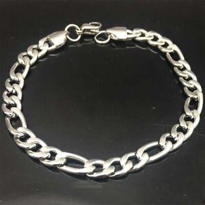 10pcs Wholesale 6MM Men's Stainless Steel Figaro Chain Link Bracelet Mens Gift
