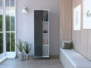White Display Storage Cabinet Cupboard with 8 Shelves and Grey Oak Effect Door