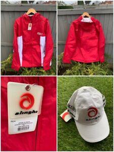 alinghi Sailing Windbreaker Hooded Jacket Red/White Mens UK Size XL *FREE CAP*
