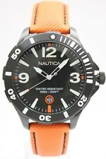 New Nautica Steel Black Orange Leather Date Men Dress Watch 45mm N13026G $130