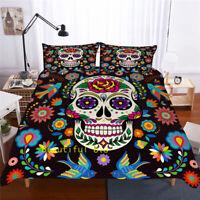 Skull Floral Single/Double/Queen/King Bed Quilt/Doona/Duvet Cover Set Pillowcase