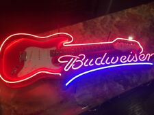 Budweiser Electric Guitar NEON SIGN for your MAN CAVE! Real Guitar Rare Sign