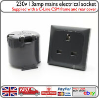 C-Line Mains 240v 13a Hookup Socket Grey w/ Backbox Motorhome Barge Horsebox Van