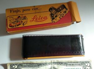"""Extremely rare vintage advertising """"Travel with LEICA camera"""" Spanish film box"""