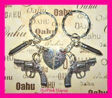 2pcs Partners in Crime Bullet Revolver Gun BF Key Chain Silver Plated USA MADE