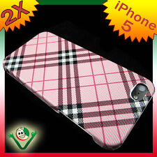 Pellicola+Custodia PLAID ROSA rigida iPhone 5 5S SE cover protezione anti urto