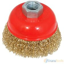 Silverline Brassed Steel Crimp Cup 75mm Wire Brush M14 Rust Removal 208542