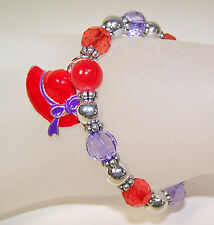 12 RED HAT CHARM & BEAD STRETCH BRACELETS FOR THE RED HAT LADIES OF SOCIETY