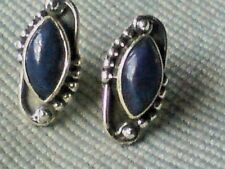 STERLING SILVER 15mm OVAL STUD EARRINGS with LAPIS CABOCHON STONES £12.50nwt