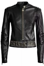 Versace H&M HM Black Studded Studs 100% Leather Jacket Coat 36 US 6