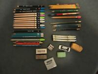 VINTAGE LOT OF 31 ASSORTED COLLECTIBLE PENCILS & ERASERS AND SHARPENER