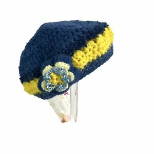 Handcrafted Crochet Blue Yellow Flower Knit Girls Beanie Cap Hat