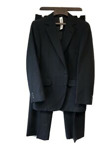 Adams Row Suit Mens Size 38R Pants Size 32x30 Navy Blue Wool N-336