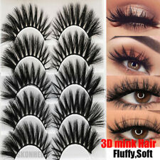 Skonhed 5 Pairs 3D Mink Hair False Eyelashes Thick Cross Long Fluffy Lashes New