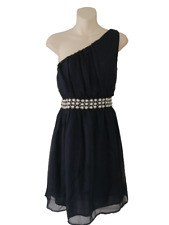 Blue Miso Party Dress Size 16 Evening One Shoulder Beaded & Sequin Waist Frock