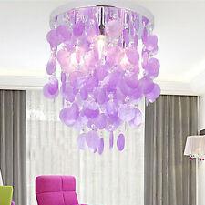 Purple Crystal Shell Pendant Lamp Girl's Bedroom Chandelier Lighting Ceiling