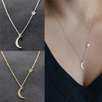 Chic Frauen Mond Sterne Anhänger Choker Halskette Gold Silber Bib Kette Schmuck-
